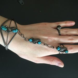 Silver Turquoise Hand Chain Ring and Bracelet